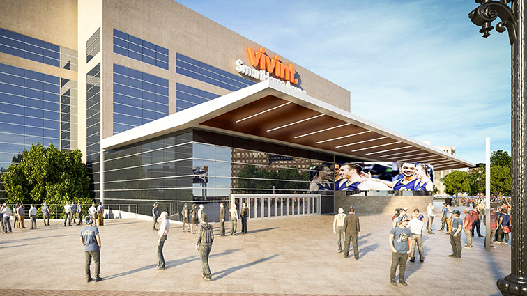 Vivint Smart Home arena main entrance renovation rendering.